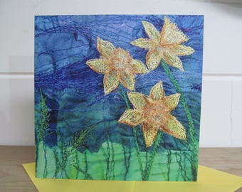 Greetings card. Daffodil embroidery art print - Set of 5 or singles available  By Juliet Turnbull