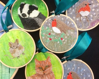 MADE TO ORDER Embroidered woodland animals or flora mini hoop hanging decorations by Juliet Turnbull.