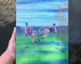 Original art 'Swim buddies' embroidery wall art picture by Juliet Turnbull.  12 x 9 inches. Ready to hang.