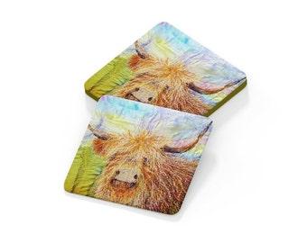 Coaster.  Highland cow drinks mat