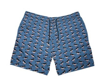 Mens swimming shorts Oyster catcher bird illustration  MADE TO ORDER  By Juliet Turnbull