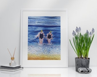 Art print picture. Winter sea swimming friends embroidery art print by Juliet Turnbull.