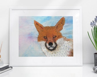 Fox Print A4.  Embroidery art by Juliet Turnbull.