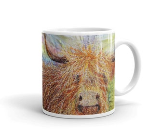 Ceramic Mug.  Highland Cow embroidery art design 11oz  By Juliet Turnbull