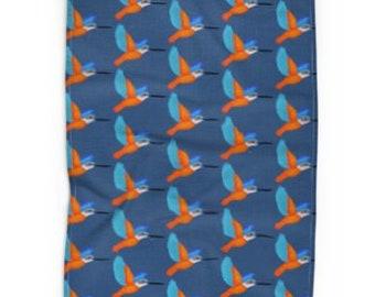 Kitchen tea towel Kingfisher on blue