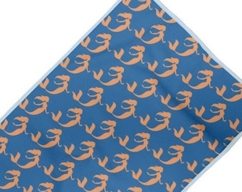Swim towel. Coral mermaid on blue print design. MADE TO ORDER  By Juliet Turnbull