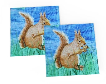 Red Squirrel greetings card.  Embroidery art by Juliet Turnbull