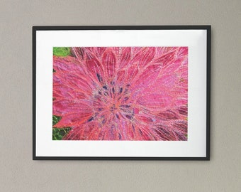 Art print picture. Bright pink Dahlia flower embroidery art print by Juliet Turnbull.