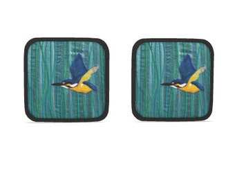 Hot dish holder pads.  Set of 2. Kingfisher embroidery art design print with black trim.