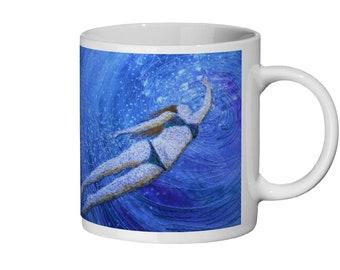 Ceramic mug.  Swimming underwater playtime print. 11oz.