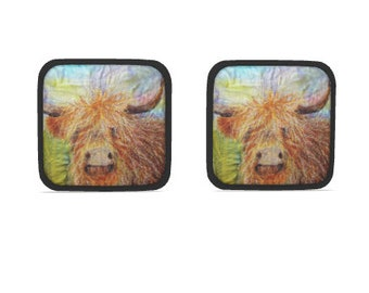 Hot dish holder pads.  Set of 2.  Highland cow embroidery art design print with black trim.