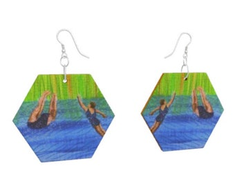 Wooden earrings. After swim playtime swimmers print of embroidery art