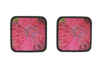 Hot dish holder pads.  Set of 2.  Bright pink Dahlia flower embroidery art design print with black trim.