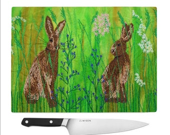 Glass Chopping Board Hare embroidery.  Wildflowers cutting board / worktop saver