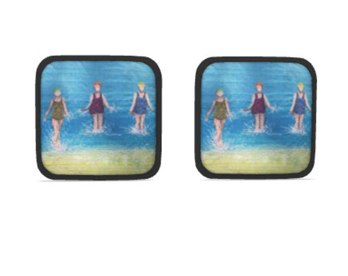 Featured listing image: Hot dish holder pads.  Set of 2. Three swimming friends embroidery art design print with black trim.