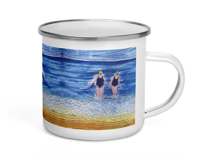 Featured listing image: Enamel Mug. Winter swimming friends embroidery art print By Juliet Turnbull.