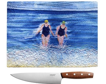Glass chopping board Winter swimming friends embroidery art print MADE TO ORDER