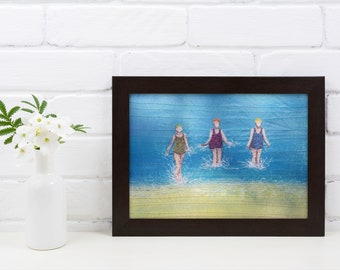 Art print picture. Three sea swimming friends embroidery faceless art print.  By Juliet Turnbull