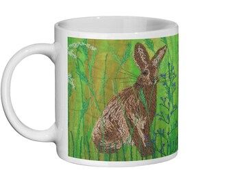Ceramic Mug.  Hare embroidery art design print 11oz  By Juliet Turnbull
