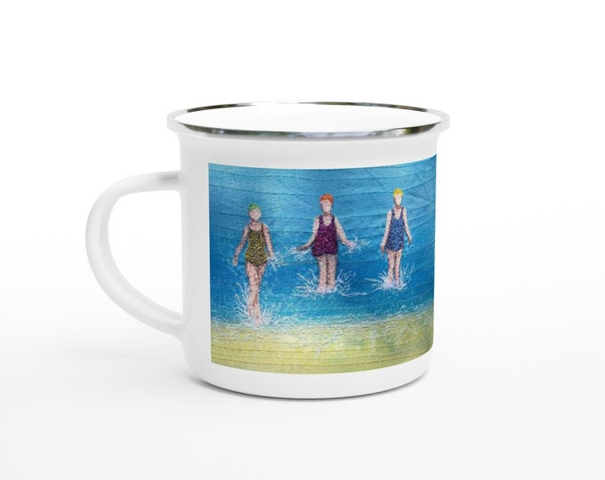 Featured listing image: Enamel Mug. Three swimming friends embroidery art print on white 12oz cup.  By Juliet Turnbull
