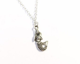 """Silver Mermaid necklace on 18"""" chain.  Perfect for wild swimmers"""