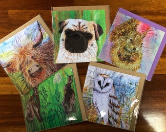 Greetings cards.  Set of 5.  Red squirrel , pug dog, highland cow, Hares, and Owl collection  By Juliet Turnbull