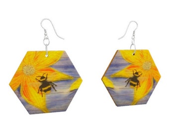 Wooden earrings. Bee on yellow flower print of embroidery art