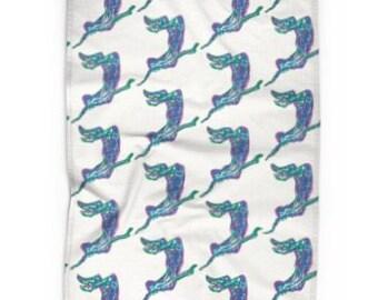 Kitchen tea towel Underwater swimmer on white
