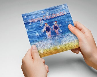Christmas cards. Merry Christmas winter swimming friends embroidery art by Juliet Turnbull.