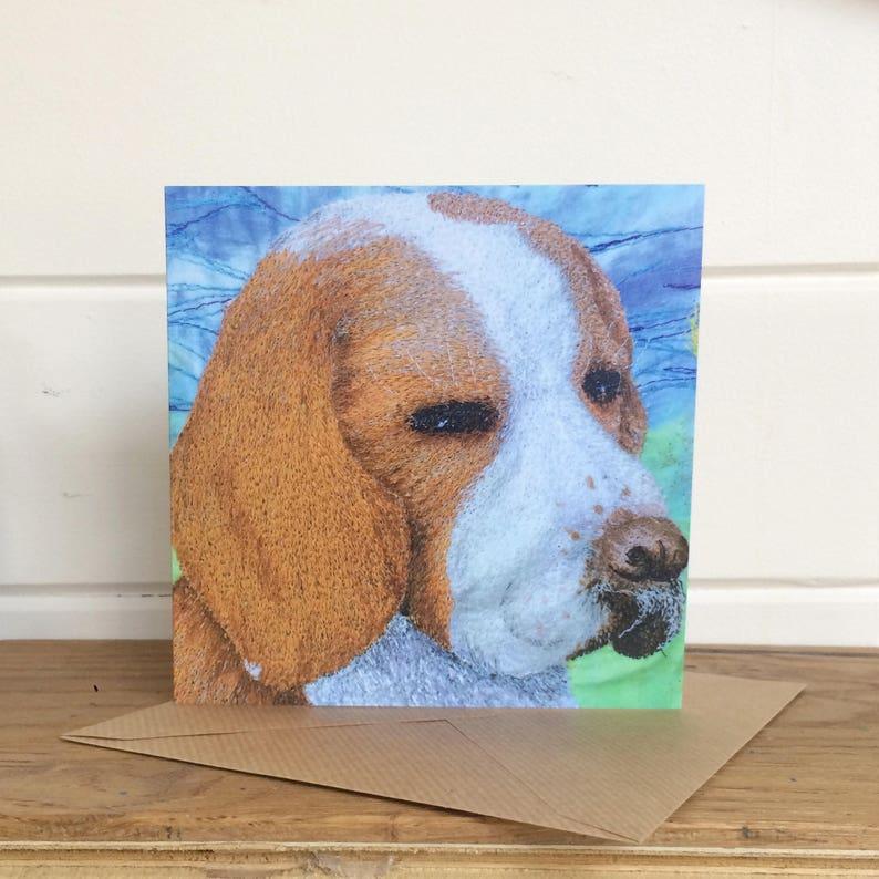 Greetings card.  Beagle embroidery art print. image 1
