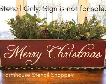 "STENCIL, Merry Christmas, 20""x5.5"", reusable stencil, NOT A SIGN"