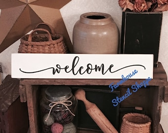 """Welcome Stencil, 20""""x4"""", reusable stencil, NOT A SIGN"""