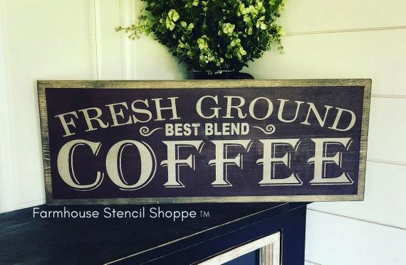 NOT A SIGN 24x8 Fresh Coffee Stencil reusable stencil STENCIL