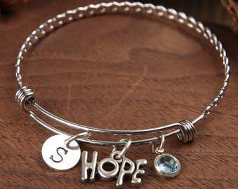Hope bangle - hope charm bracelet - expandable bangle - personalized bracelet -Monogram bangle - Birthstone bangle - Adjustable Bangle