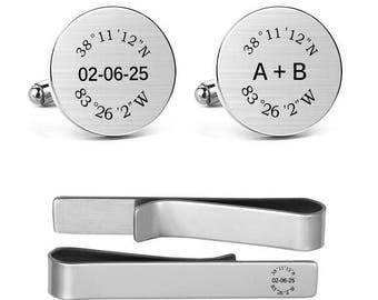 Coordinates Cufflinks Engraved Latitude and Longitude Initial Monogram Date Business Wedding Jewelry Round Square Cuff links Tie Clips Tacks