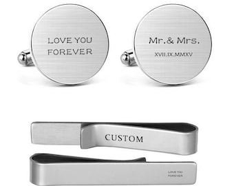 Groom Cufflinks Mr and Mrs Engraved Love You Forever Wedding Date Formal Anniversaty Men's Jewelry Round Square Cuff links Tie Clips Tacks