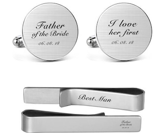 Cufflinks Engraved Father of the Bride, I Loved Her First with Wedding Date father dad daddy Round Square Cuff links and Tie Clips Tacks