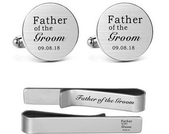 Men's Cufflinks Engraved Father of the Groom Custom Personalized Wedding Cuff Links Father Dad Cufflinks and Tie Clips Tacks Wedding Jewelry