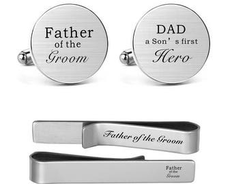 Cufflinks Engraved Father of the Groom, Dad a Son's First Hero Custom Wedding Father Dad Cufflinks and Tie Clips Tacks Wedding Jewelry