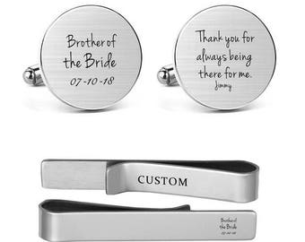 Brother Cufflinks Engraved Brother of the Bride Thank you for always being there for me Custom Name Round Square Cuff links Tie Clips Tacks
