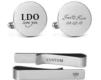 Cufflinks Engraved I Do love you Custom Name and Date Personalized Men's Wedding Accessories Round Square Cuff links Tie Clips Tacks Bar