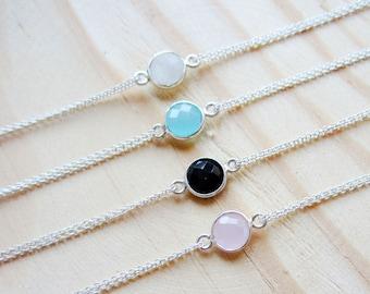 Sterling Silver Stone Bracelet - Ruby Bracelet - Amethyst Bracelet - Blue Chalcedony Bracelet - Semi Precious Stone Bracelet - Onyx Bracelet