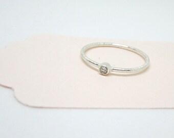 Silver Zirconia Ring - Minimal Sterling Silver Ring - CZ Simple Ring - Bright Stone Minimal Ring - Staking Ring - Thin ring