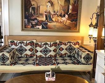 Arabesque Rainbow Diwan Majlis Jalsa Floor Seating Sofa 2 Meter (6.5ft) Set جلسة عربية