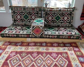 Kilim Black Majlis Diwan Jalsa Sofa 2 Meter Set