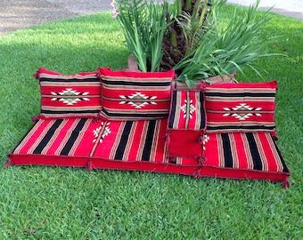 2m. Traditional Red Arabic Diwan Majlis Floor Seating Jalsa Set ديوان  أحمر اللون جلسة عربية