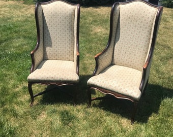Vintage Queen Anne Wing Chair Set (Denver local pick up)