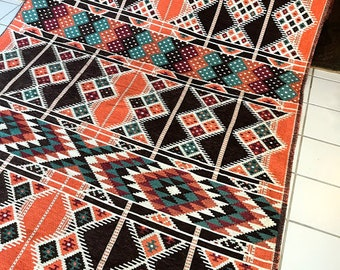 Woven Brown Orange Arabesque Fabric by the yard