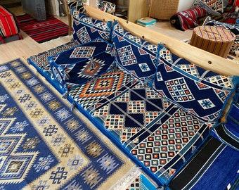Arabesque Deep Blue Majlis Diwan Jalsa Sofa 2 Meter Set