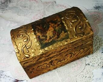 Decorative Arts Antiques Chic Vintage Toleware Florentine Pin Glove Box Gold Gilt Hollywood Regency Japan